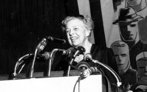 Eleanor Roosevelt at podium