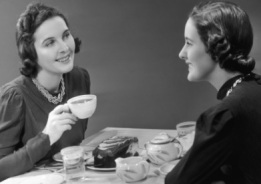 2 women having coffee vintage cropped